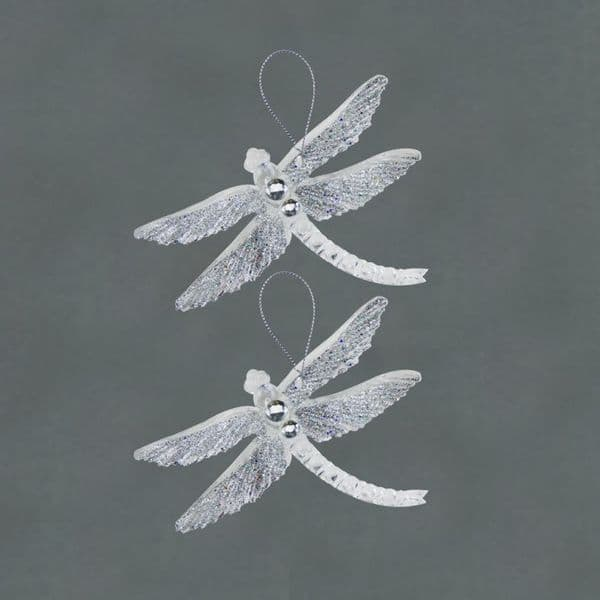 Davies Products 2 Clear Glitter Dragonflies - 19cm